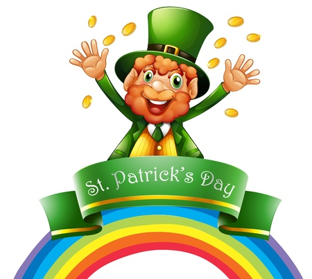 patron saint of ireland: Illustration of a man celebrating the day of St. Patrick on a white background