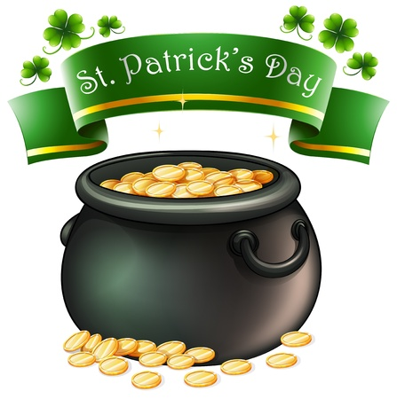 patron saint of ireland: Illustration of a pot full of golds on a white background