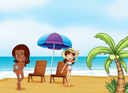 Illustration of the two ladies wearing bikinis at the beach  Vector