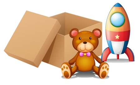 Illustration of the two toys beside a box on a white background Vector