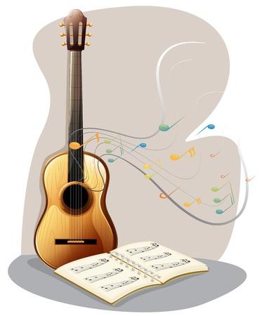 letras musicales: Ilustracion de una guitarra con un libro musical sobre un fondo blanco Vectores