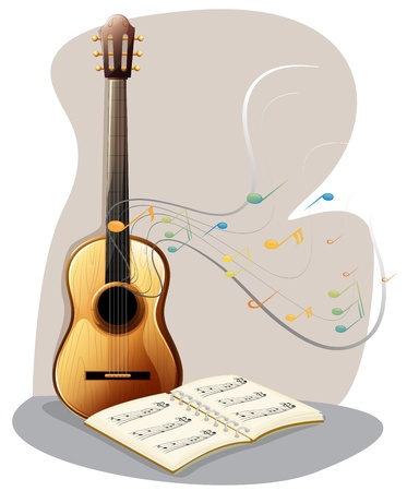 lyrics: Ilustration of a guitar with a musical book on a white background Illustration