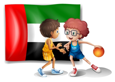arab flags: Illustration of the flag of UAE at the back of the basketball players on a white background