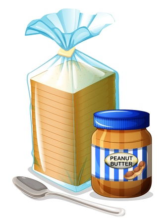 bolsa de pan: Ilustración de un pan con una mantequilla de cacahuete y una cuchara en un fondo blanco Vectores