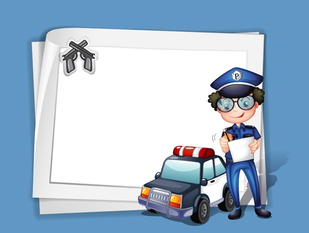 Illustration of a blank stationery with a policeman Vector