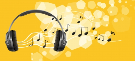 ear phones: Illustration of a headset and the musical notes Illustration
