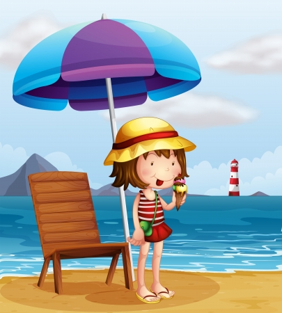 Illustration of a young woman eating an icecream at the beach Vector