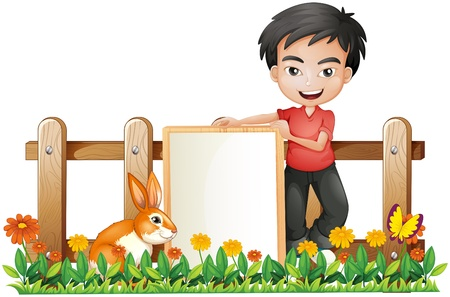 pic  picture: Illustration of a boy and a bunny on a white background