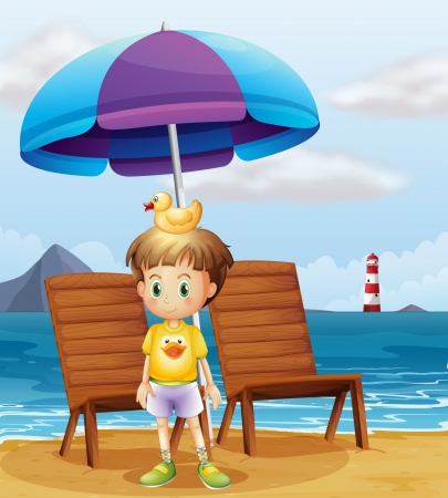 parola: Illustration of a boy with a rubber duck at the beach