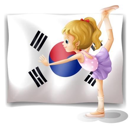 dancing girl: Illustration of a ballet dancer in front of the South Korean flag on a white background Illustration