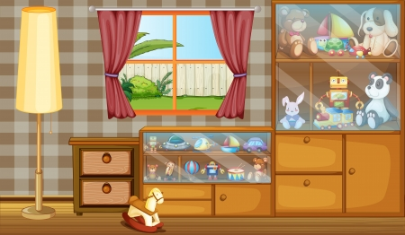 Illustration of a cabinet full of toys Vector
