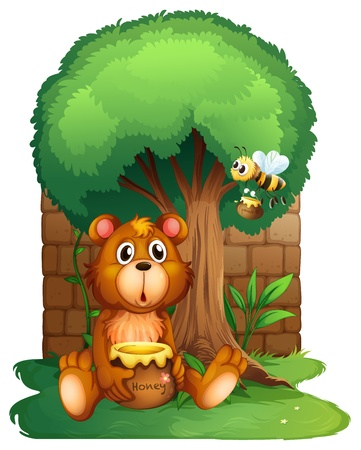 honey bear: Illustration of a bear and a bee under a big tree
