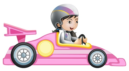 race car driver: Illustration of a girl riding in a pink racing car on a white background