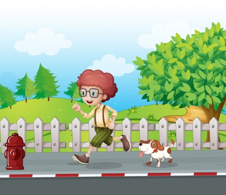 Illustration of a boy running along the road with his pet Vector