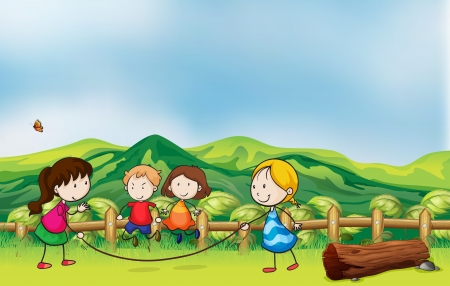 overlooking: Illustration of the kids playing jumping rope at the bridge