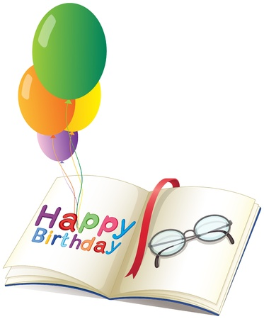 libro caricatura: Ilustraci�n de un saludo de cumplea�os con globos sobre un fondo blanco Vectores