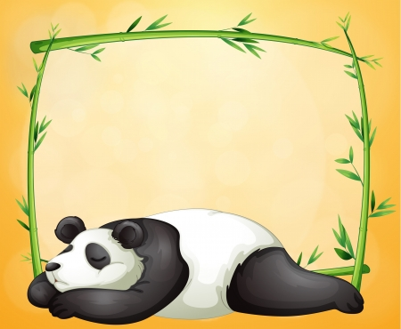 Illustration of an empty frame and the sleeping panda on an orange background Vector