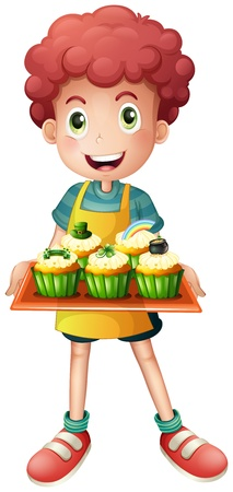 Illustration of a young baker holding a tray with cupcakes on a white background Vector