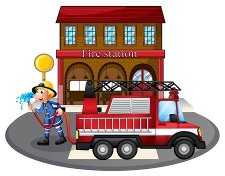 brandweer cartoon: Illustratie van een brandweerman met een waterslang naast een brandweerwagen op een witte achtergrond