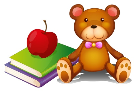 school things: Illustration of an apple above the books and a huggable bear on a white background Illustration