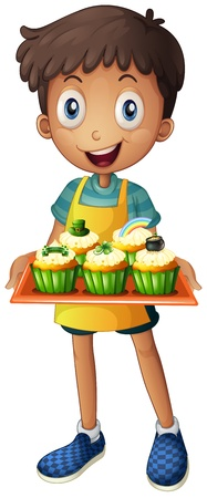 patron saint of ireland: Illustration of a young man holding a tray with cupcakes on a white background