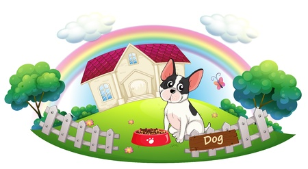 Illustration of a dog and his dog food in front of a house on a white background Vector