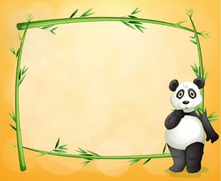 Illustration of a panda standing at the right side of a bamboo frame on an orange background Vector