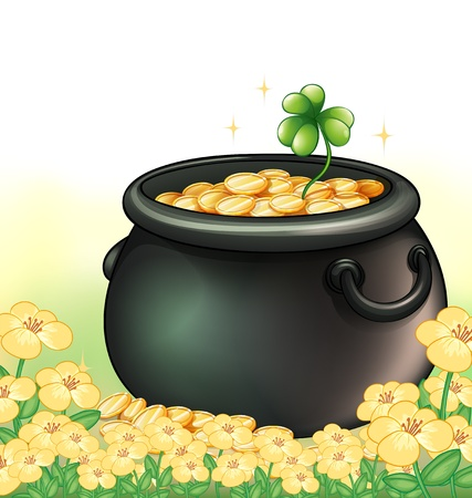Illustration of a pot of gold in the garden  Stock Vector - 18459587