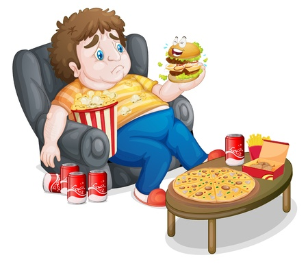 kid eat: Illustrazione di un ragazzo grasso mangiare su uno sfondo bianco