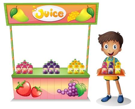 bancarella: Illustrazione di un ragazzo che vende succhi di frutta su uno sfondo bianco Vettoriali