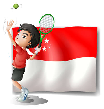 singaporean flag: Illustration of a boy playing tennis in front of the flag of Singapore on a white background