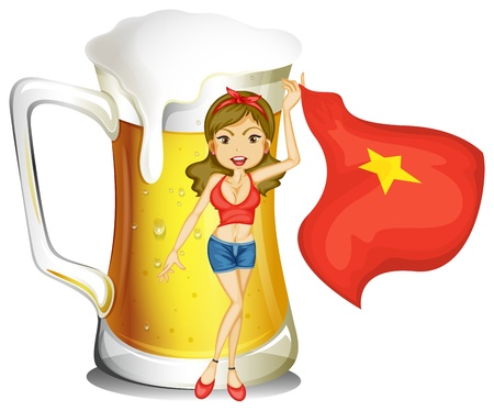 Illustration of a girl holding the flag of Vietnam in front of a big mug of beer on a white background Vector