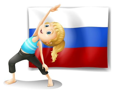 russian woman: Illustration of a girl with the flag of the Russian Federation on a white background