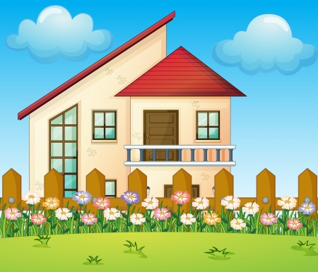 home clipart: Illustration of a big house inside the fence Illustration