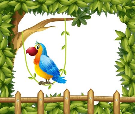 loros verdes: Ilustración de un loro colgando en una planta de vid cerca de la valla de madera