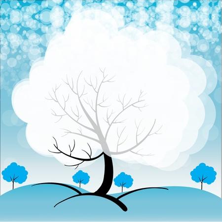 snow field: Illustration of a snowy season