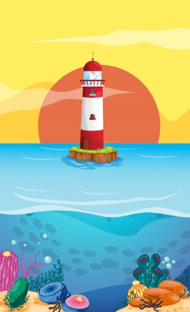 Illustration of a lighthouse in the middle of the sea Vector