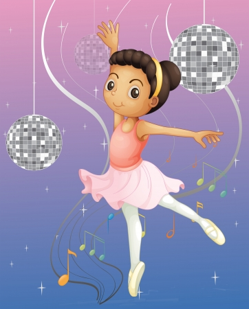 Illustration of a ballet dancer with disco lights Vector