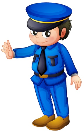 Illustration of a police officer with a complete blue inform on a white background Vector
