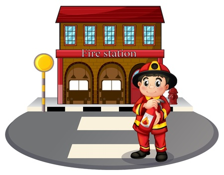 Illustration of a fireman holding a fire extinguisher in front of the fire station on a white background Vector