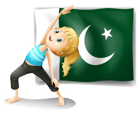 pakistan flag: Illustration of the Pakistan flag at the back of a girl on a white background