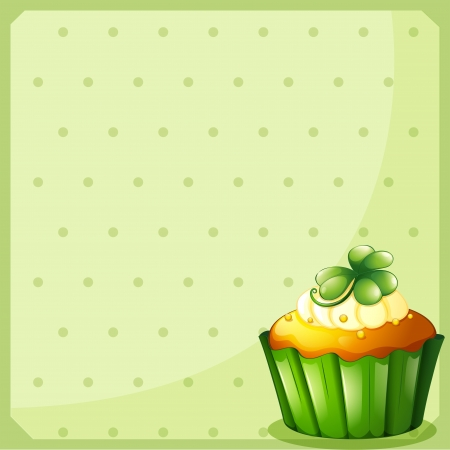 Illustration of a stationery with a green cupcake Stock Vector - 18458241