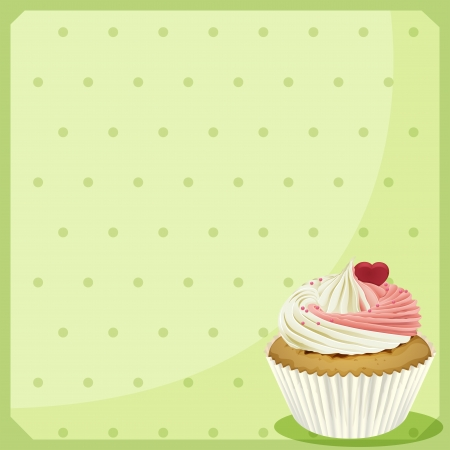 cup cake: Illustration of a blank stationery with a cupcake