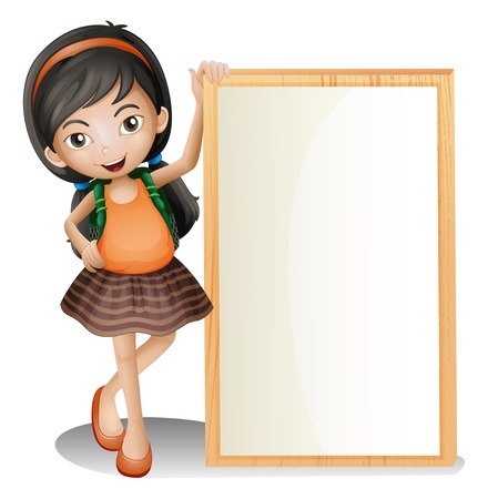pic  picture: Illustration of a young lady beside an empty signboard on a white background