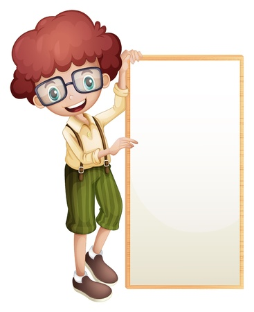 pic  picture: Illustration of a boy showing an empty frame on a white background