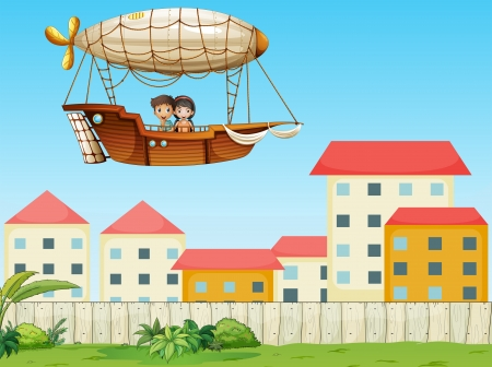 Illustration of the two kids riding in an aircraft above the village  Vector