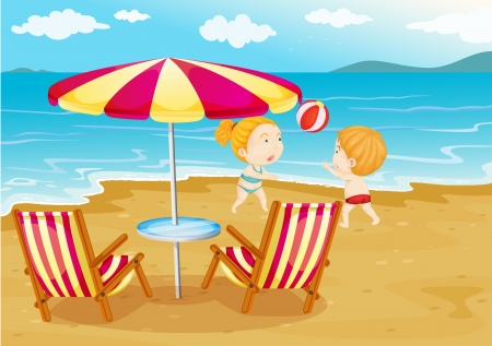 little girl beach: Illustration of the kids playing volleyball at the beach Illustration