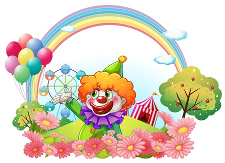 Illustration of a clown in an amusement park on a white background Vector