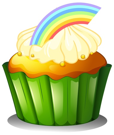 Illustration of a cupcake with rainbow on a white background Vector