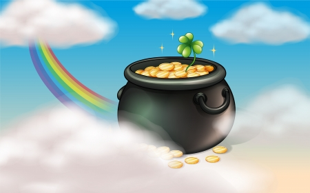 Illustration of a pot of coins with a clover plant Vector